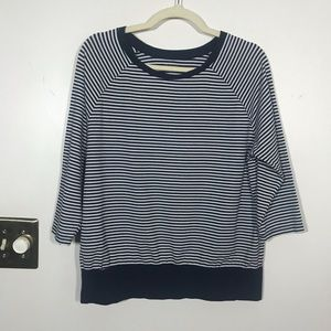 KIM ROGERS Blue/White Striped Top, Size Large
